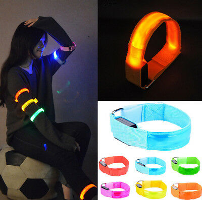 Glowing Dark Lights Flash LED Reflective Running Sports Wrist Band Cuff Bracelet