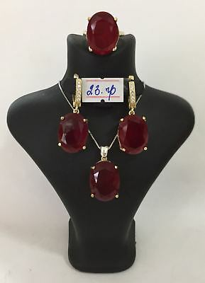 925 Sterling Silver AAA Quality Jewelry Ruby Ladies Full Set
