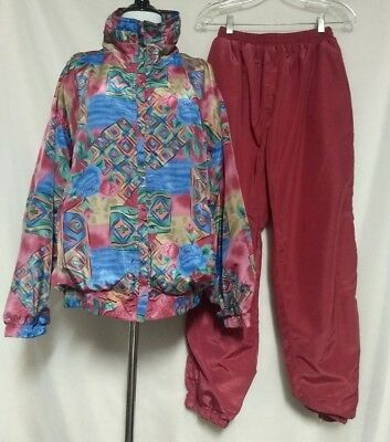 Vintage Active Studio Multi Patterned Lined Shell Suit 2 Pce Jacket & Pants L