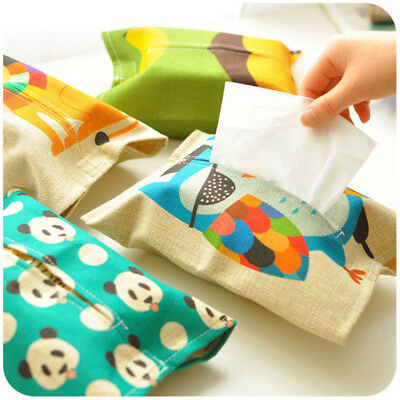 Cute Cloth Cartoon Animals Tissue Box Car Room Napkin Cover Paper Holder Decor