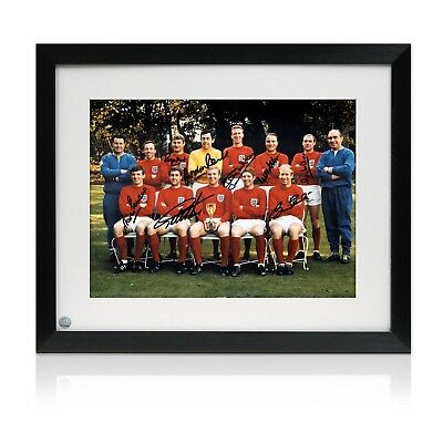 Framed England 1966 World Cup Winners Photo Signed By Eight Of The Team