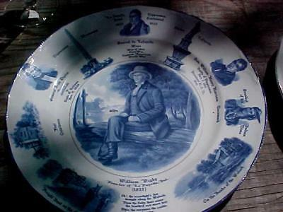 Hard To Find William Digby Blue &white Plate Founder Of Lafayette Indiana