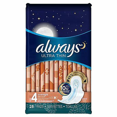 Always Ultra Thin Size 4, Overnight Feminine Pads with Wings Unscented, 28 count