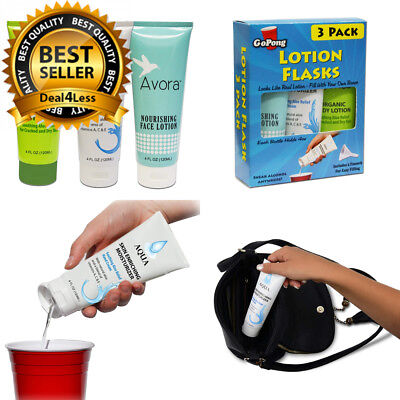 GoPong Hidden Lotion Flask Sneak Alcohol Anywhere Two Mess Free Funnels 3 Pack