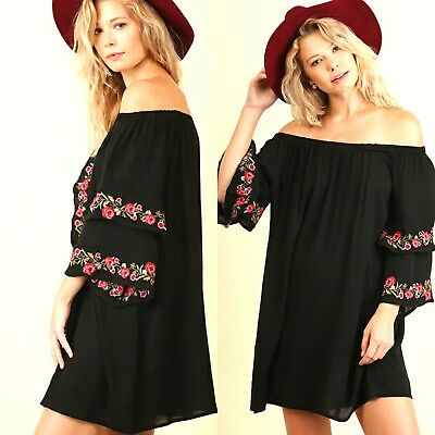 Umgee Dress Size XL S M L Black Embroidered Floral Ruffle Tunic Womens New