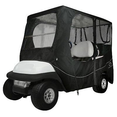 Classic Accessories Fairway Golf Cart Deluxe Enclosure  Black  Long Roof