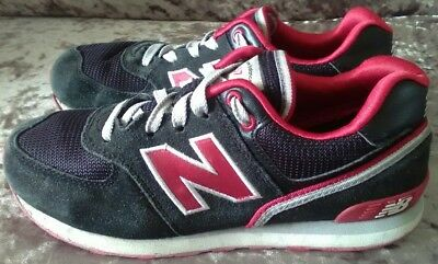 Black/ Red Youth New Balance 574 Trainers UK 3 used