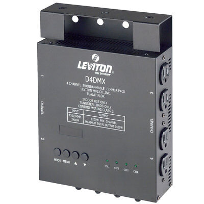Leviton D4DMX-MD3 4-Channel Programmable Dimmer Pack with 1200W per channel