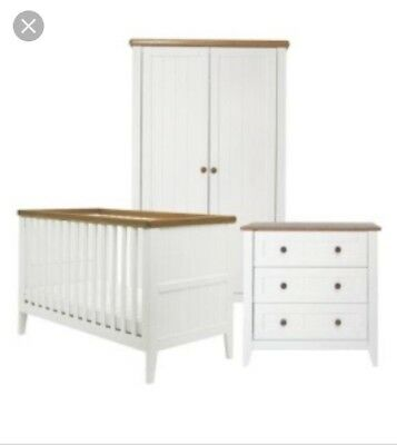 White Mothercare Summer Oak Nursery Furniture Set