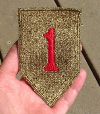 Original WW2 US made 1st Infantry Division patch - WITH OD - GREEN BACK -US Army
