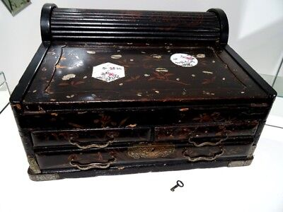 19thC antique Chinese writing box TAMBOUR MOP LACQUER gentleman's SEA CAPTAIN