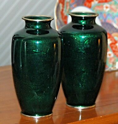 Japanese GINBARI CLOISONNE GREEN Vases Pair Pigeon Blood Foil Enamel 7.5 Inches