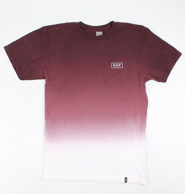 HUF Mens Gradient Dip Dye S/S T-Shirt Burgundy Size XL New