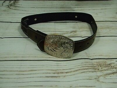 Boys Nocona Belt Co Genuine Leather Sz 22 N4415801 Brown Conchos Crumrine Buckle