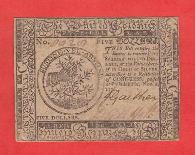 11/2/1776  $5 HIGH GRADE Philadelphia Continental Currency