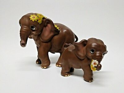 "Mother Baby Vintage Josef Originals comical Elephant figurines 4-3/4"" & 2-3/4"""
