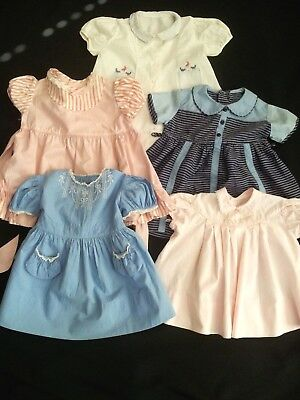 Vintage Girls Baby Toddler Dress Lot (5) 1950s-60s Size 2 Embroidered Adorable