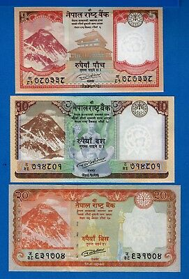 Nepal 5, 10, 20 Rupees Mount Everest Animals Uncirculated Banknotes Set #7