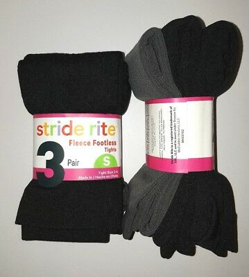 New Stride-Rite Girls Fleece Footless Tights 3 Pack Black, Black Cable, Gray