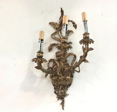 French ANTIQUE bronze WALL Light SCONCES fixtures Rocco Style 3 Arm Gold Light