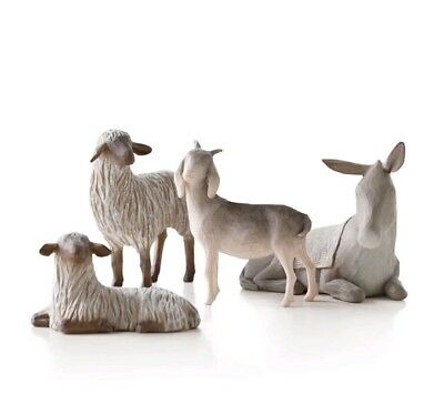 NEW! Willow Tree Sheltering Animals 4pc Set for Nativity Susan Lordi Demdaco