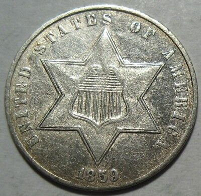 = 1859 AU Cleaned THREE Cent Piece, TYPE 3 T3, FREE Shipping
