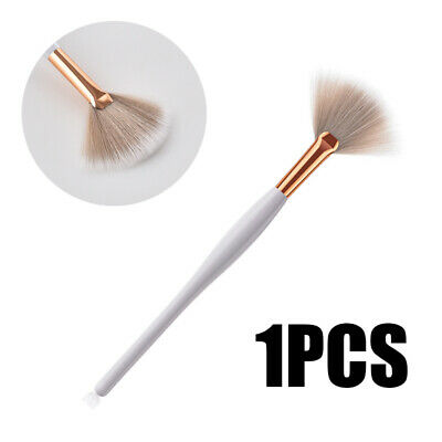White Fan Shape Makeup Cosmetic Brush Blending Highlighter Contour Face Powder