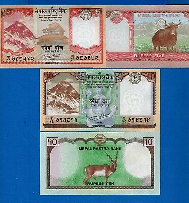 Nepal 5 & 10 Rupees Mt.Everest & Black Buck Uncirculated Banknotes Set #6