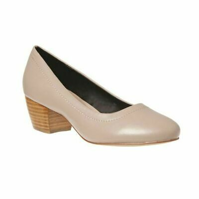 Grosby Juliet Taupe Closed Toe Thick Heels Low Casual Work Ladies Womens Shoes