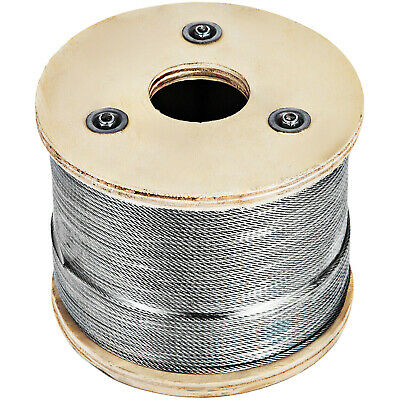 "Cable Railing Type 316 Stainless Steel Wire Rope Cable, 1/8"", 7x7, 1000 ft Reel"