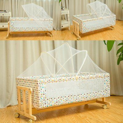 Convertible Baby Crib Solid Wood Nursery Travel Bed Toddler Cradle Sleep Basket