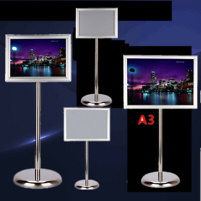 DIN A3/A4 Adjustable Floor Standing Menu Sign Holder Snap Frame and Display
