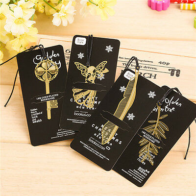 4pcs/Set Gold Plated Hollow Animal Feather Bookmarks Book Magazine Statio Gift
