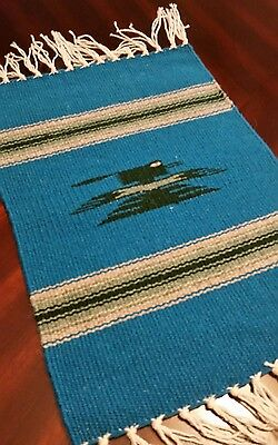 """Chimayo 100 % Wool Textile 14"""" 7/8 × 10"""" 1/4 Weaving Made in New Mexico"""
