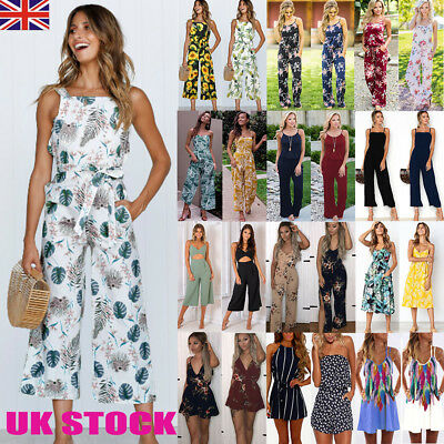 UK Womens Summer Holiday Dress Ladies Long Playsuit Jumpsuit Beach Sun Dress