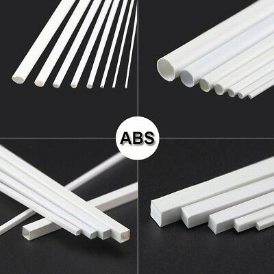 ABS Styrene Plastic Strip Tube Round Bar Rods Square Bar Rod 250mm Length White