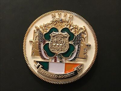 Nypd Emerald Society White St.patricks Day Challenge Coin