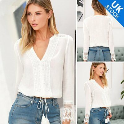 Fashion Women Summer Hollow Lace Long Sleeve V-Neck Blouse Loose Tops