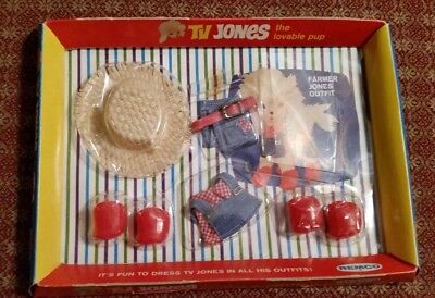 Vintage 1966 Tv Jones The Lovable Pup Farmer Jones Outfit-Nrfp-Pussy Meow