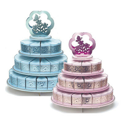 3 Three Tier Cake Stand With 48 Cake Boxes Wedding Christenihg Party Pink Blue