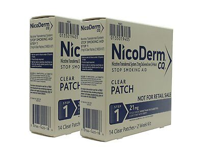 NicoDerm CQ Clear Nicotine Patches Stop Smoking Aid Step 1 21mg 14Ea (Pack of 2)