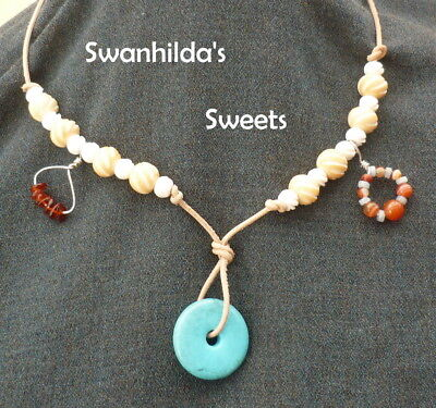 Larp Viking Necklace Handcrafted Chalk Turquoise, Bone, Mixed Stone Swsw