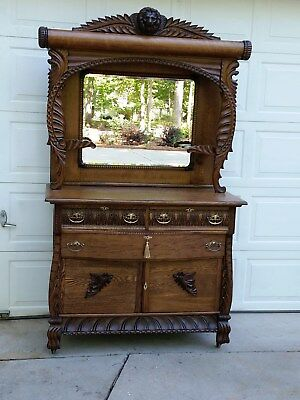 Antique Oak Sideboard Buffet - American - 1900 - Heavily Carved - Lion Head Paws