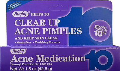 Rugby Acne Medication Benzoyl Peroxide Gel 10% Max Strength 1.5 oz (Pack of 2)