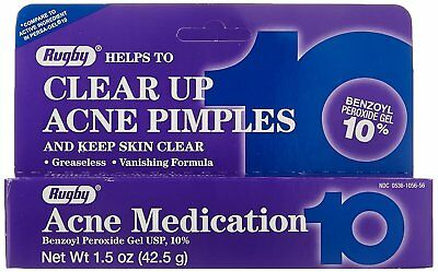 Rugby Acne Medication Benzoyl Peroxide Gel 10% Max Strength 1.5 oz (Pack of 3)