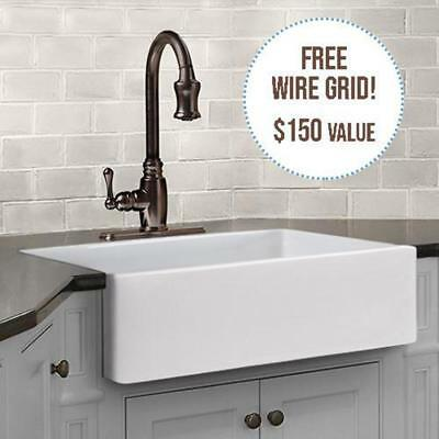 """30"""" Hempstead Fireclay Reversible Single-Bowl Farmhouse Sink with Offset Drain"""