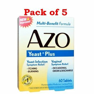 AZO Yeast Plus Dual Relief Multi-Symptom Formula Tablets 60 ct (Pack of 5)
