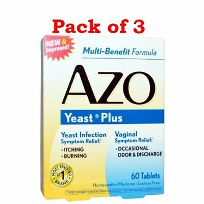 AZO Yeast Plus Dual Relief Multi-Symptom Formula Tablets 60 ct (Pack of 3)