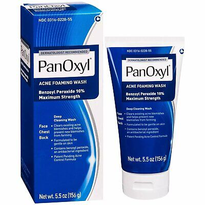 PanOxyl Acne Foaming Wash Maximum Strength 10% Benzoyl Peroxide 5.5oz (2 Pack)