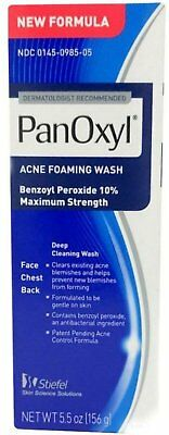PanOxyl Acne Foaming Wash Maximum Strength 10% Benzoyl Peroxide 5.5oz (4 Pack)